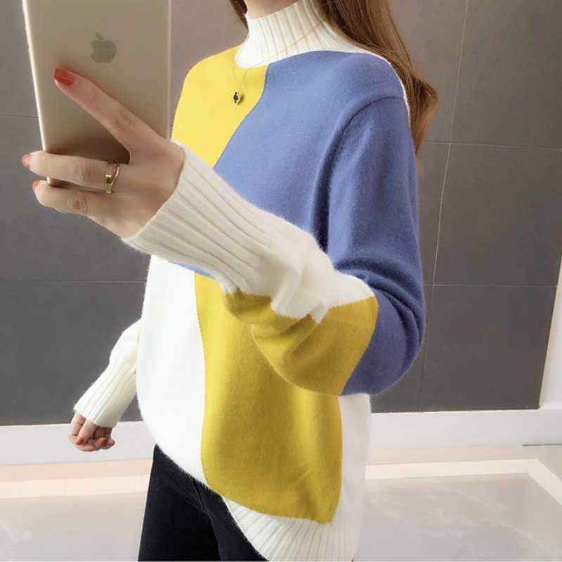 Новинка 2019, Зимний вязаный женский свитер, элегантная женская одежда, водолазка с длинным рукавом, женские топы, pull femme Truien Dames 5771 90