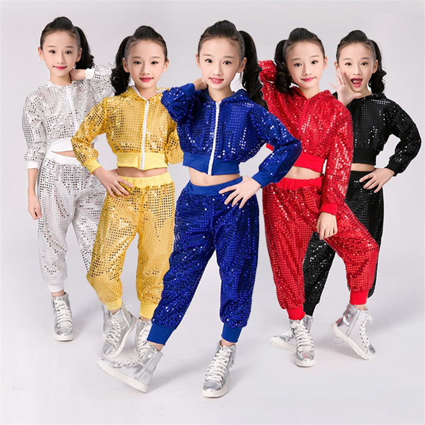 Kids Ballroom Jazz Dancing Costumes Shiny Sequin Stage Performance Clothing Set Hooded Jacket Pants Girls Hip Hop Dance Wear