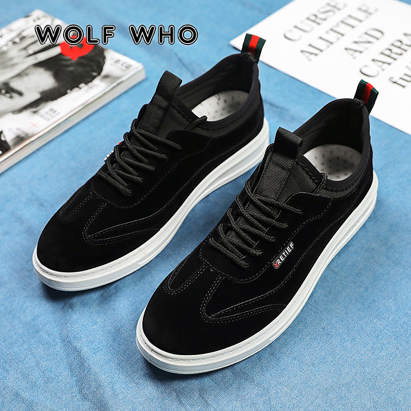 WOLF WHO 2020 New Sneakers Male Flats Comfortable Casual Shoes Men's Leather Breathable Outdoor Footwears Zapatos Hombre X-031