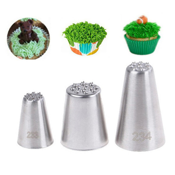 3Pc Stainless steel cream decoration mouth Small grass shape cream nozzle Baking tools Grass Cream Icing Nozzles Pastry Decorate