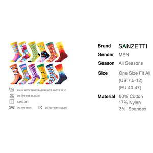 Image 5 - SANZETTI 12 paires/lot chaussettes colorées pour hommes chaussettes en coton peigné nouveauté de mariage chaussettes Multi robe heureuse conception décontracté chaussettes déquipage