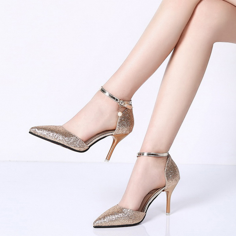 Rimocy elegant ladies shinning glitter gold silver pumps 2019 sexy pointed toe high heels ankle strap wedding party shoes woman 4