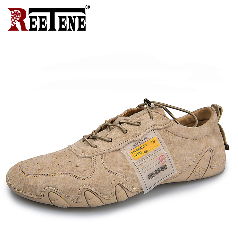 REETENE Genuine Leather Casual Shoes For Men High Quality Men Shoes Lace-up Breathable Men Sneakers Outdoor Walking Shoes Men