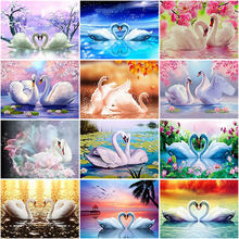 Diy swan 5d diamond painting full square/round resin diamont