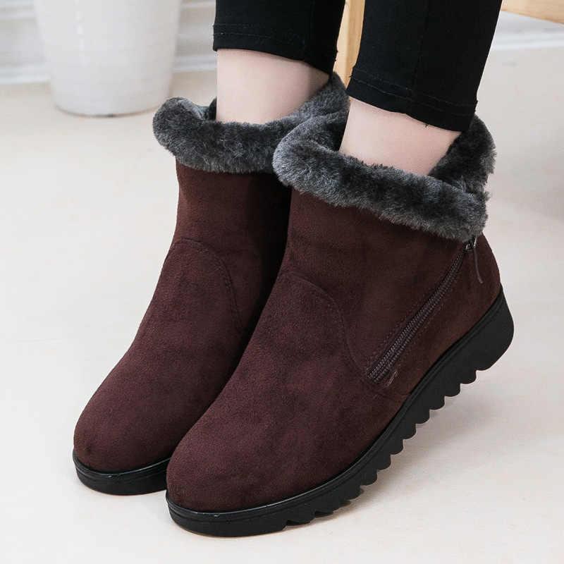 Kadın botları kış ayakkabı kadın yarım çizmeler kadın kışlık botlar süet sıcak kürk kar botları bayanlar Bota kadın patik Botas Mujer