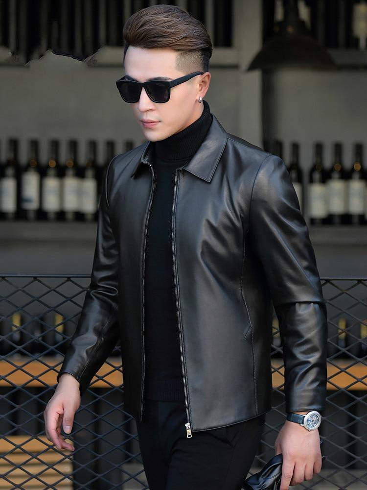 Genuine Leather Jacket Men Real Sheepskin Coat Spring Short Motorcycle Jacket Korean Veste En Cuir Homme P-1-790 KJ1457