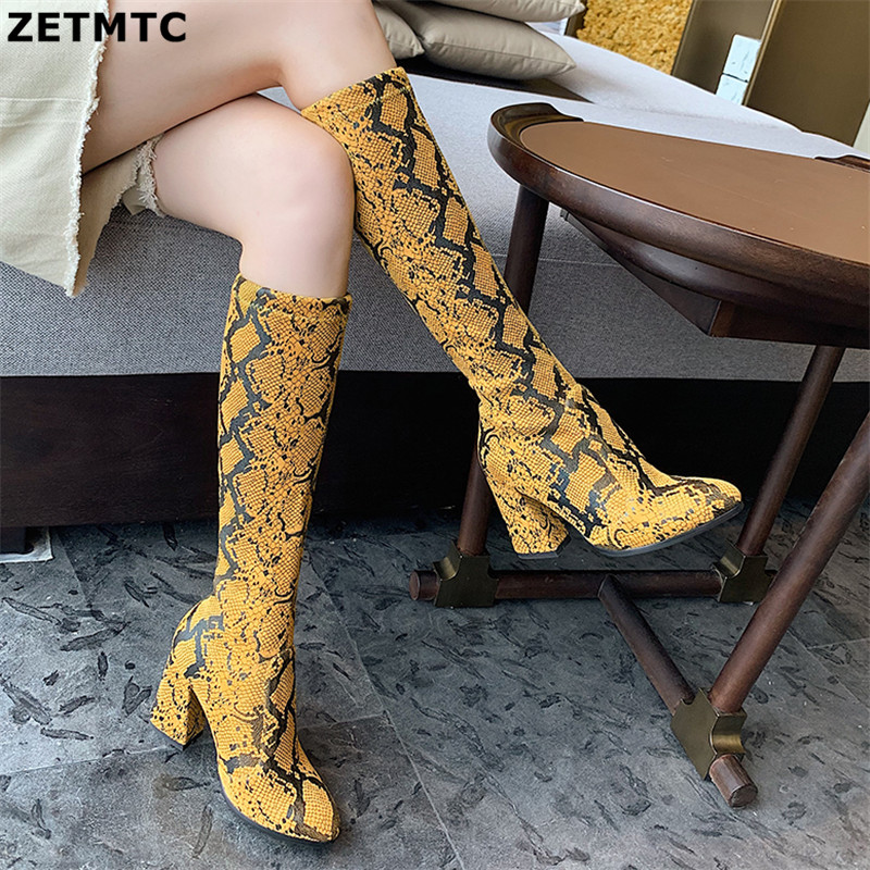 Women's riding boots Snakeskin boots Animal Print Women Thigh High Boots Sexy Over The Knee Snake Print Prom Botas Mujer Thin 38