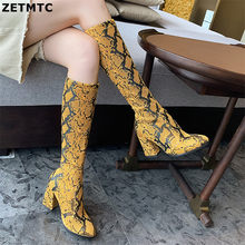 Women's riding boots Snakeskin boots Animal Print Women Thigh High Boots Sexy Over The Knee Snake Print Prom Botas Mujer Thin 38(China)