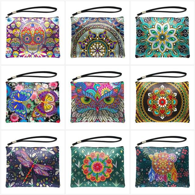 HUACAN 5D DIY Diamond Painting Wallet Women Mandala Diamond Embroidery Art Kits Special Shaped Handbag