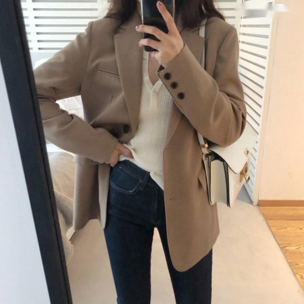 Casual Blazer Women Elegant Loose Casual Solid Business Blazer Long Blazers Loose Jacket Ladies Spring Autumn Suit