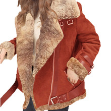 Plus Size Women Winter Thick Long Sleeves Faux Lambswool Coat Ladies Solid Flock Leather Loose Zipper Buckle Warm Jacket&Outwear
