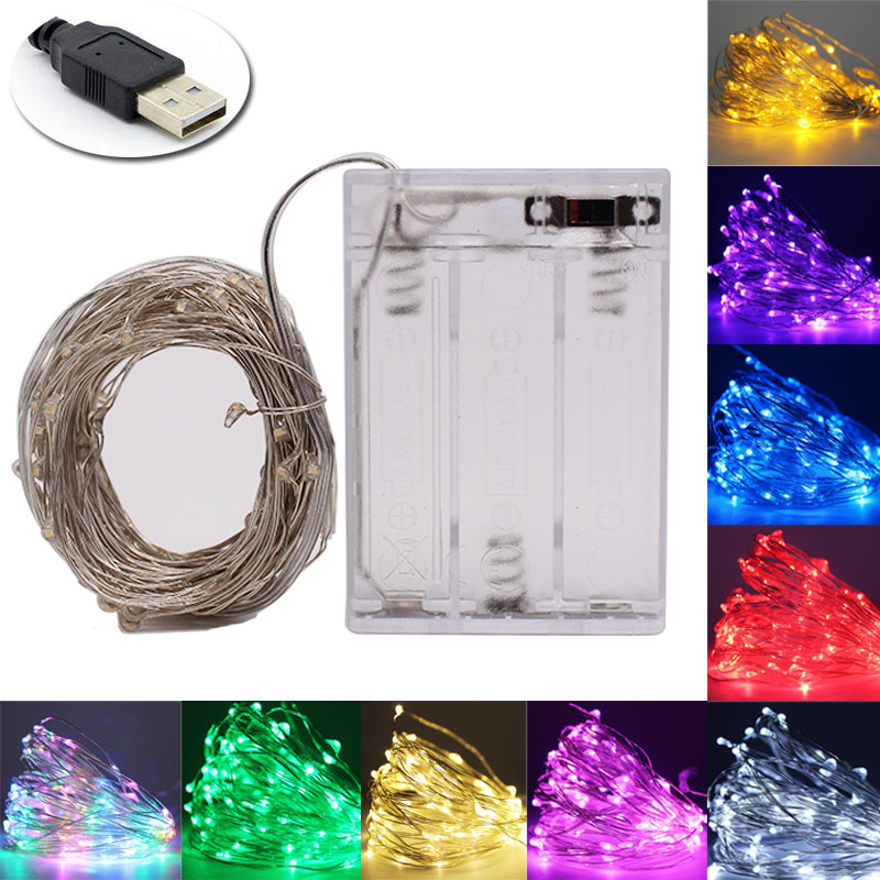 LED String Light Copper Wire Fairy Warm White Garland Home Christmas Wedding Party Decoration Powered By Battery Batter USB 10m