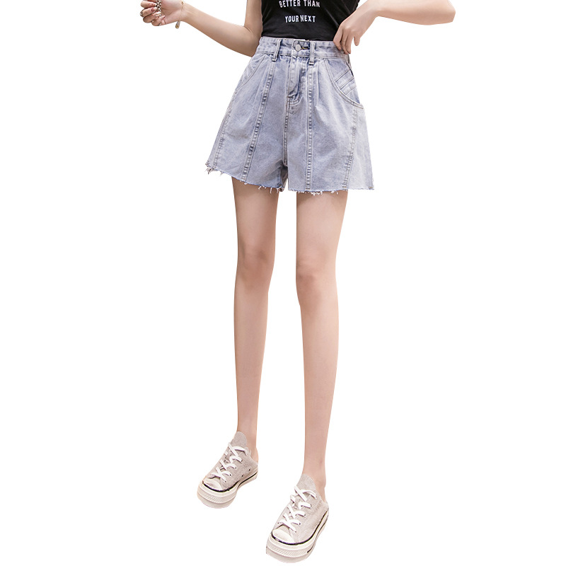 Women Denim Shorts High Waist Loose Breathable With Pockets For Summer Beach Party JL