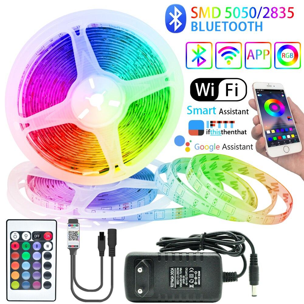 Светодиодный полоски светильник Bluetooth RGB 5050/2835 гибкие светодиодные ленты Luces светодиодный лента светодиод 12В 5 м-20 м декоративные Подсветка Т...