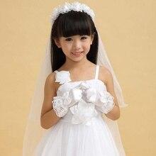 Модные цветы для женщин вечерние цветочные девушки перчатки короткий абзац атласный бант кружева ученики девушки представление белые перчатки#921