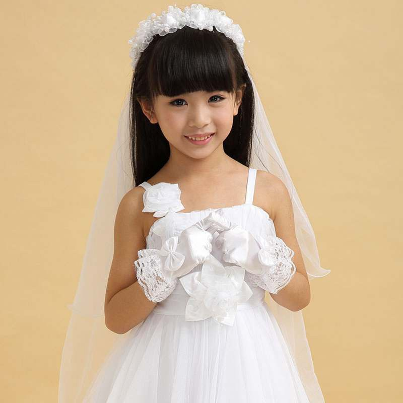 Fashion Women Flower Party Flower Girl Gloves Short Paragraph Satin Bow Lace Pupils Girls Performance White Gloves#921