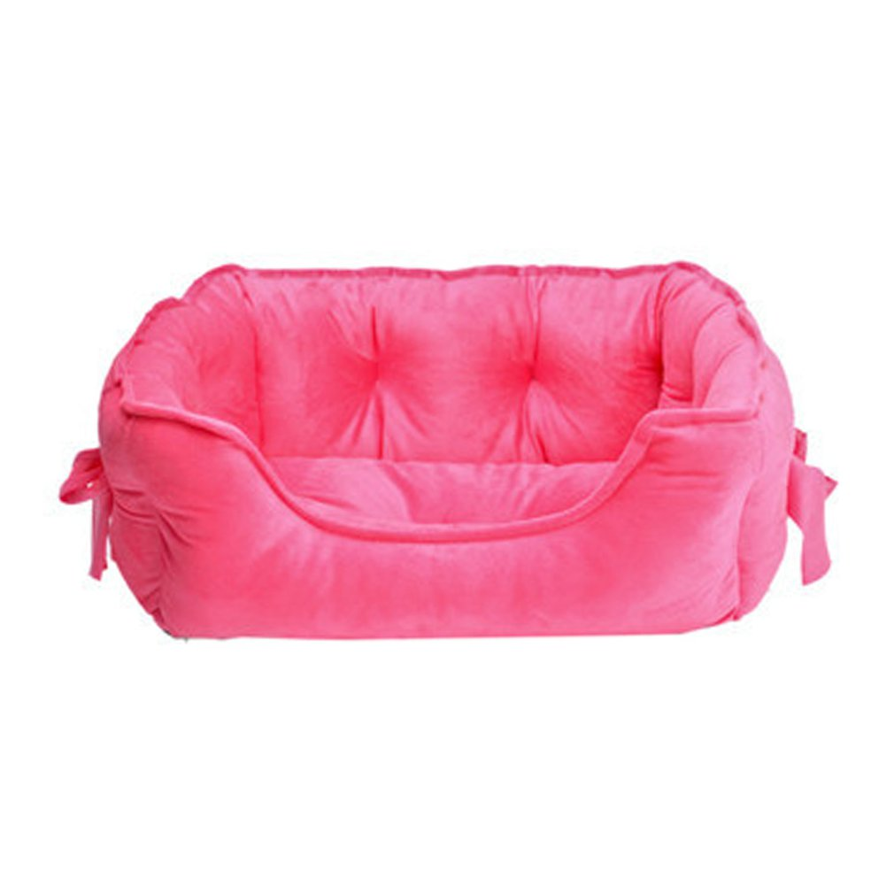 Puppy Pets Dog Cat Bow Short Plush Bed House Super Warm Soft Dog Nest Mat Cushion Dog Kennel Pet Products AnimalRoseS thumbnail