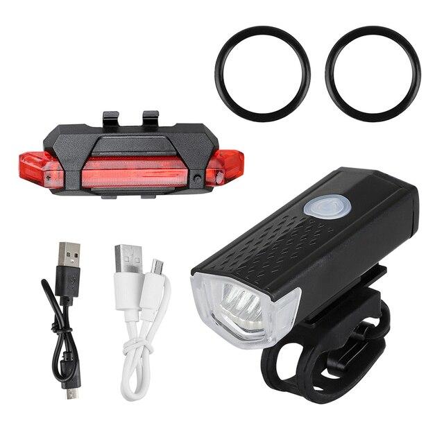Luz da bicicleta usb recarregável 300 lumens luz da bicicleta led dianteiro farol traseiro lanterna traseira ciclismo luz de advertência 2