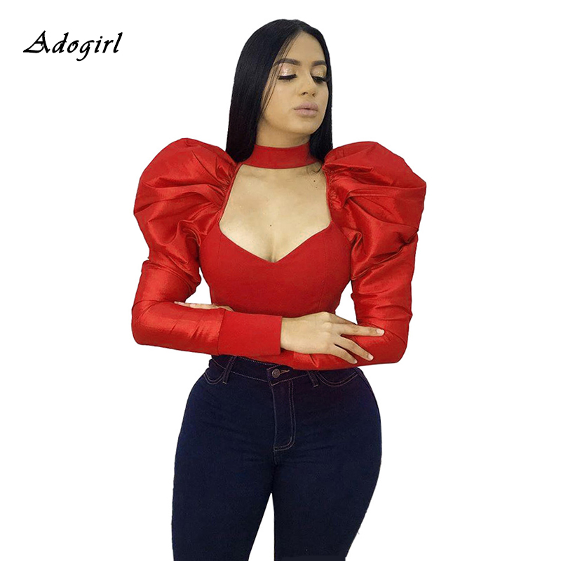 Vintage Puff Sleeve Blouse Women Sexy V Neck Long Sleeve Slim Red Shirts Women Casaul Night Club Black Tops Shirt Plus Size 3XL