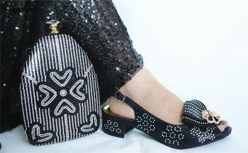 Black Party Set Sandals With Bag African Medium Heel Sandal Shoes And Purse Handbag Set  GL1912-1 Heel Height 3.5CM