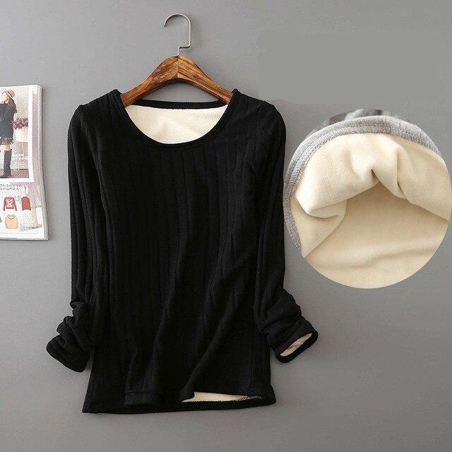 2020 Winter Warm T Shirt Thick Fleece Thermal Underwear Long Sleeve Stripe Cotton Tee Shirt Super Soft T-Shirt O neck Top Shirt 2