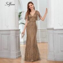 סקסי נצנצים Maix שמלת עבור נשים קצר שרוול צווארון V Bodycon ערב מסיבת שמלה אלגנטי ארוך גבירותיי שמלת Robe Femme 2020