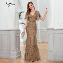 فستان Maix المثير للنساء بأكمام قصيرة وفتحة رقبة على شكل v فستان حفلات مسائية أنيق طويل للسيدات رداء فام 2020