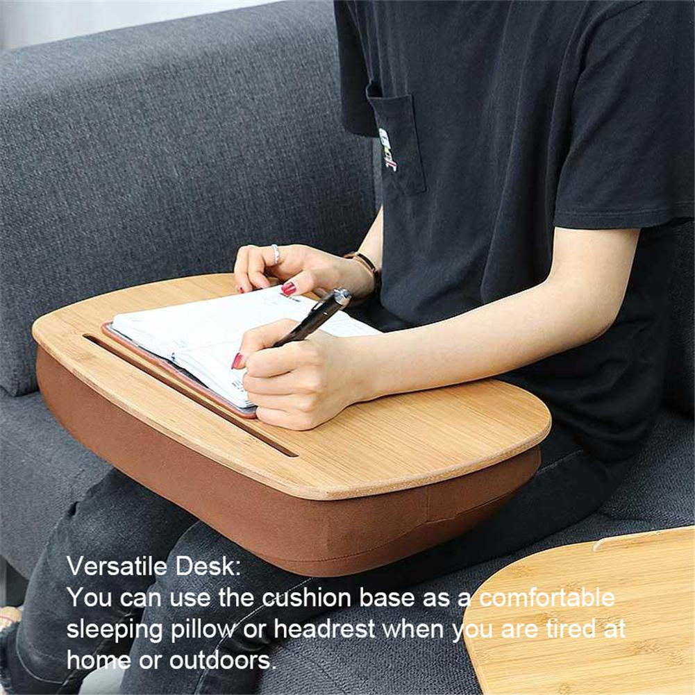 Knee Laptop Table  Pillow Lap Desk Bookshelf  Bamboo Tray  Reading Writing Cushion Handy Learning  Bed  Table  Portable  Stand