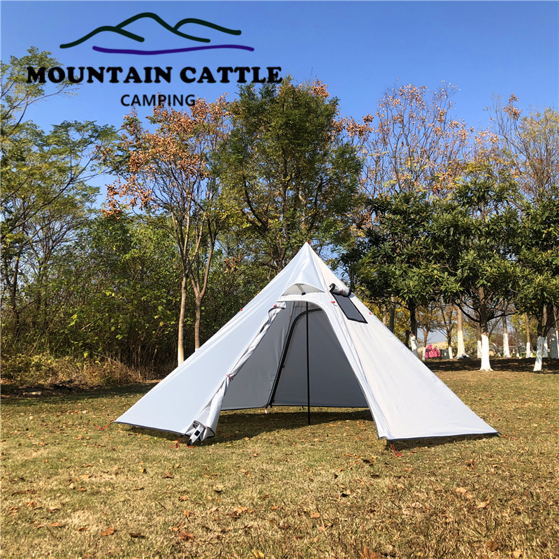3-4 Person Ultralight Outdoor Camping Teepee Big Pyramid Tent Backpacking Hiking Tent with Rod Stovepipe Hole Awnings Shelter (1)