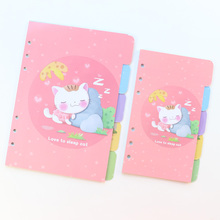 Domikee cute candy cartoon 6 holes index divider for loos-leaf spiral notebooks school binder planner journal divider stationery
