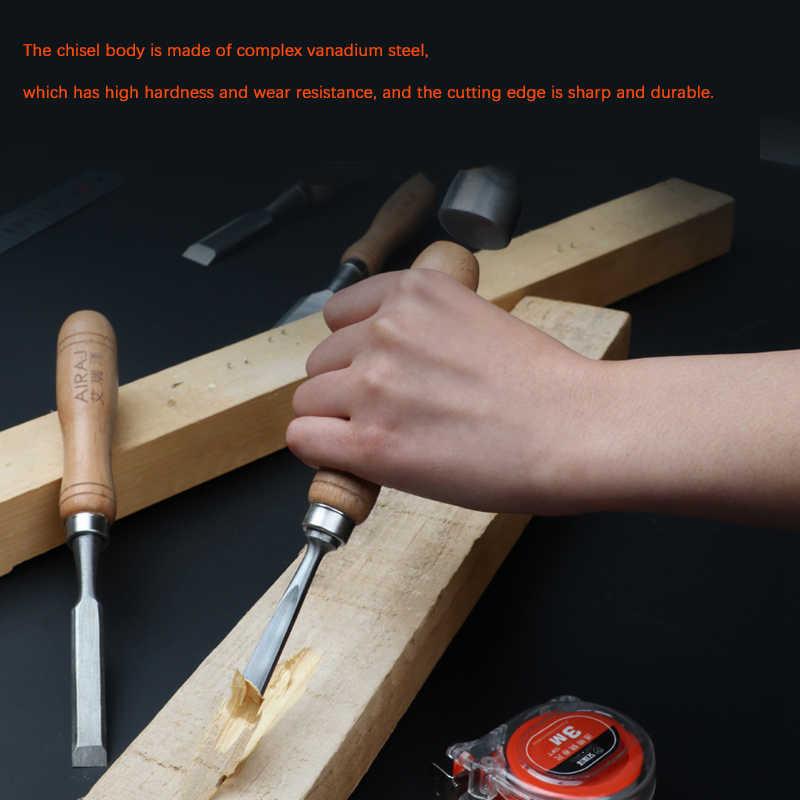 AIRAJ 6/12 Pcs עץ גילוף אזמל כל סט של רב-סטנדרטי ביתי נגרות חריטה עט ידני כלי גילוף סכין