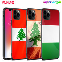 Black Silicone Case Lebanon Flag for iPhone 11 11Pro XS MAX XR X 8 7 6S 6 Plus 5S Gloss Phone Cover