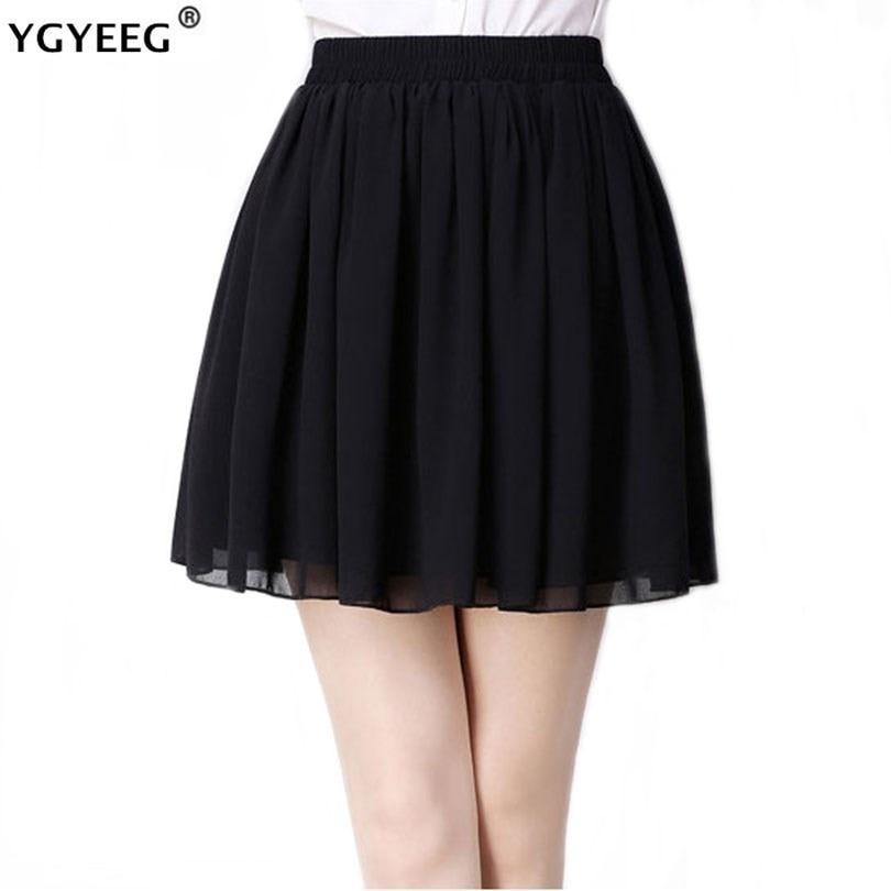 YGYEEG Women Casual Skirt High Waist Pleated Skirts Summer Ladies Chiffon Black Pleated Mini Pink Elastic Waist Black Skirts