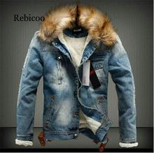 2019 new mens jeans jacket and denim thick warm winter M-5XL