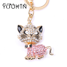 New Crystal zircon Hello Kitty Cat Keychains Mouse Bear Keychain for Women Charms Phone Bags Key Chain Car Ring Jewelry Gift