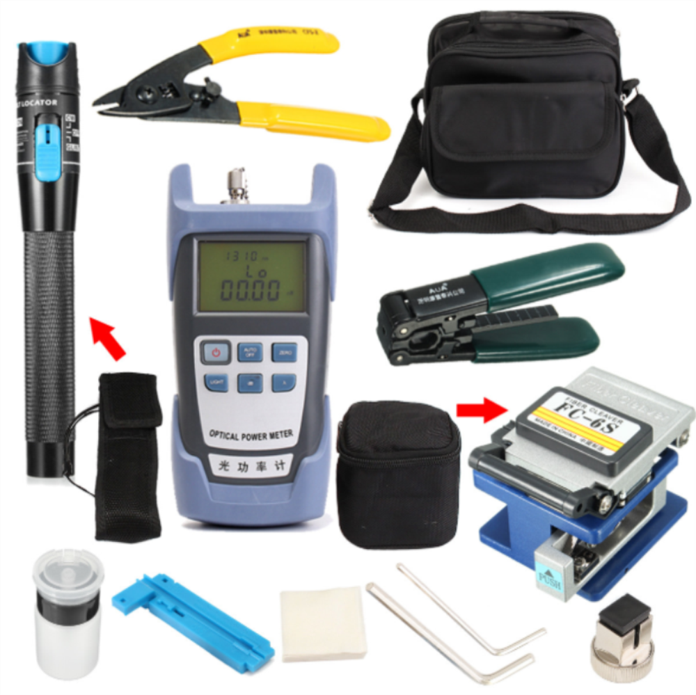 KELUSHI FTTH Fiber Optic Tool Kit with Fiber Fibra Optica Power Meter and 10mW Visual Fault Locator FC-6S FTTH tool