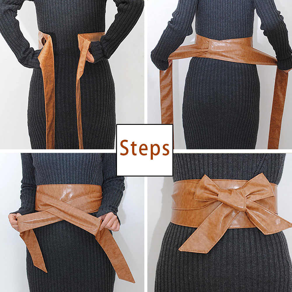1PC Bowknot אופנה מותן בנד חגורת נשים עור מפוצל רחב חגורת חגורות רך עצמי עניבה לעטוף סביב לאגד נשי חגורות