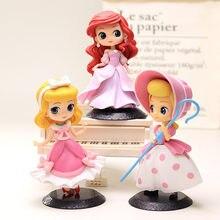 DISNEY Q posket Princess Doll Ariel Tangled Rapunzel Elsa Anna Figure toys dolls toys Cake Topper Cake decor birthday party