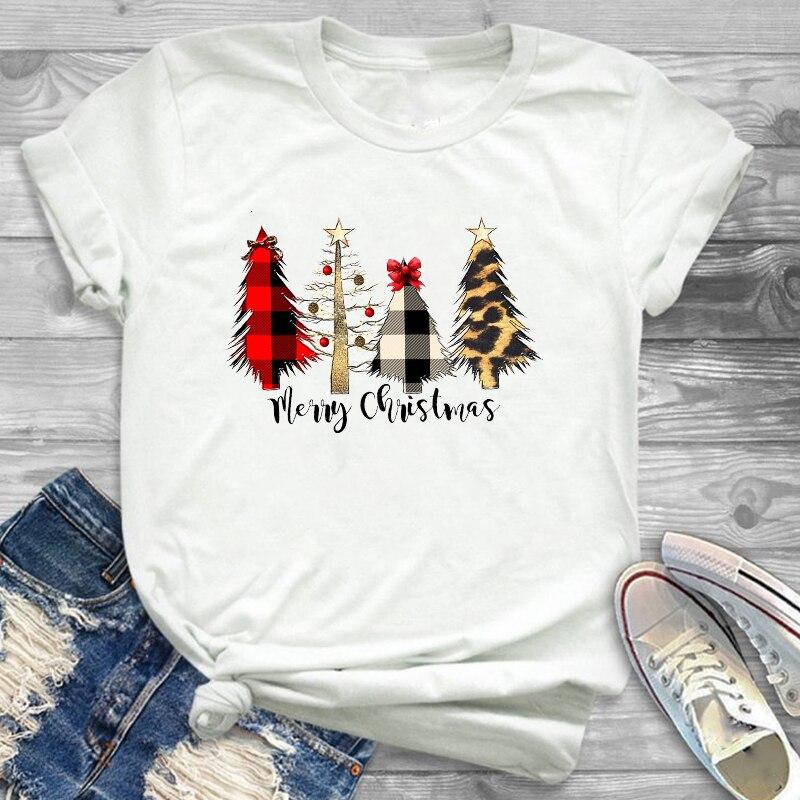 Women Leopard Plaid Tree New Year Fashion Clothing Merry Christmas Womens Female Graphic T Shirt T-Shirt Tee Shirt Tees T-shirts