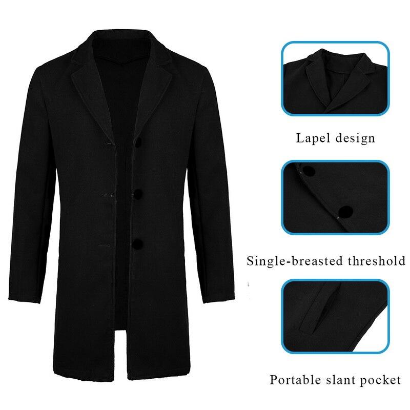 2019 Winter Wool Jacket Men's High-quality Wool Coat Casual Slim Collar Woolen Coat Men's Long Cotton Collar Trench Coat 4