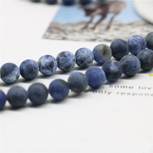 4/6/8/10mm natural soda stone blue matte bracelet necklace diy semi-finished products making accessories