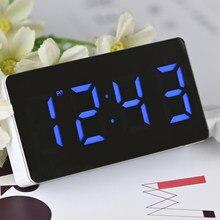 LED Mirror cyfrowy budzik zegar drzemki obudź się wyciszenie kalendarz możliwość przyciemniania elektroniczne zegary stołowe zegar dekoracyjny do domu