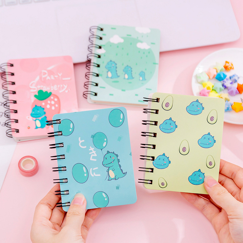 Kawaii Cute Cartoon Strawberry Dinosaur Mini Spiral A7 Notebook Daily Weekly Planner Note Book Time Organizer School Supplies