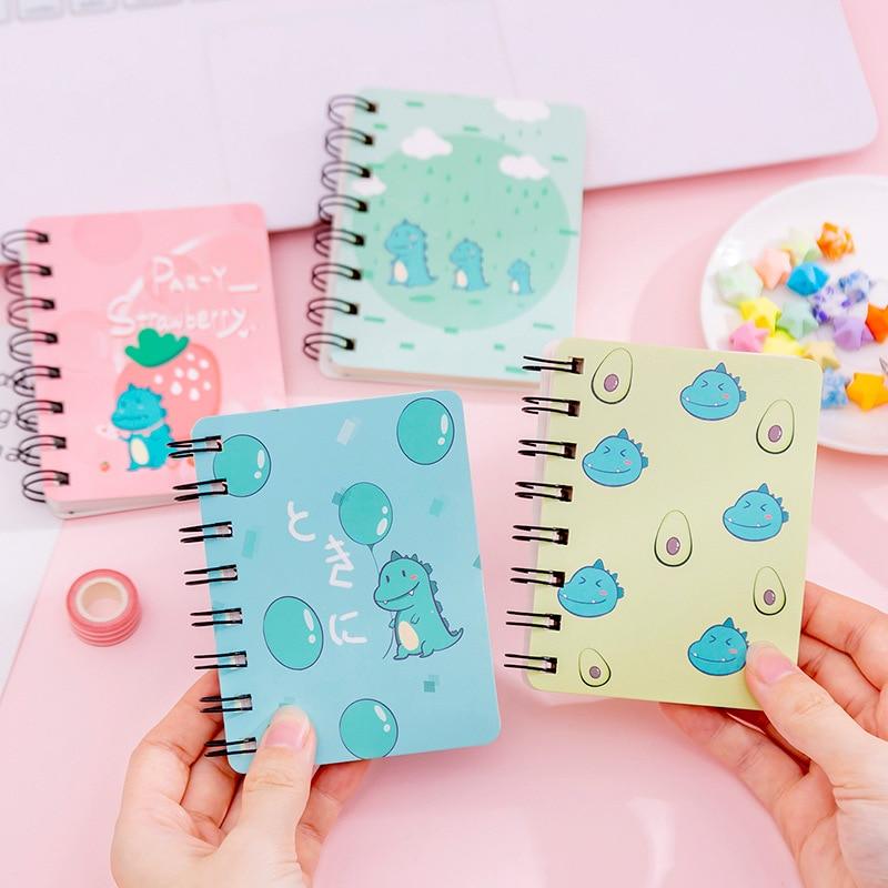 Kawaii Cute Cartoon Strawberry Dinosaur Mini Spiral A7 Notebook Daily Weekly Planner Note Book Time Organizer School Supplies