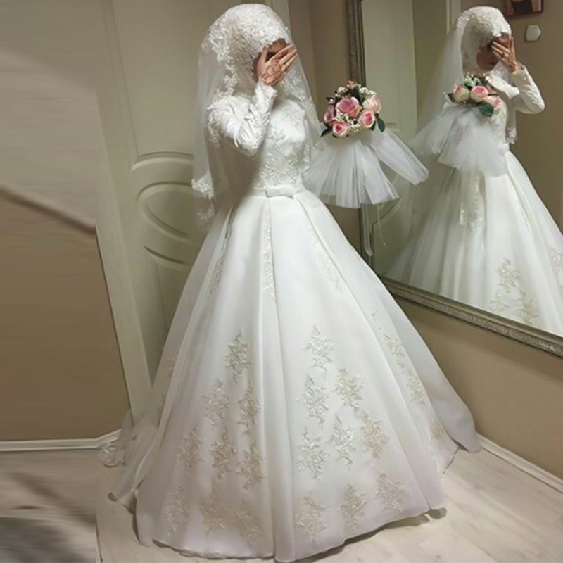 MYYBLE Long Sleeves Muslim Wedding Dresses With Hijab Ball Gown Sweep Train Jewel Applique Chiffon Floor-Length Arabic Gelinlik