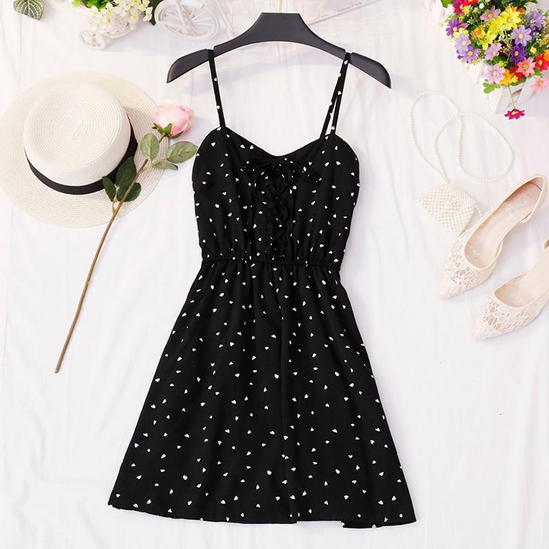 2019 Spring / Summer Women's Sundress New Wave Point Small Fresh V-Collar Belt High Waistline Dress