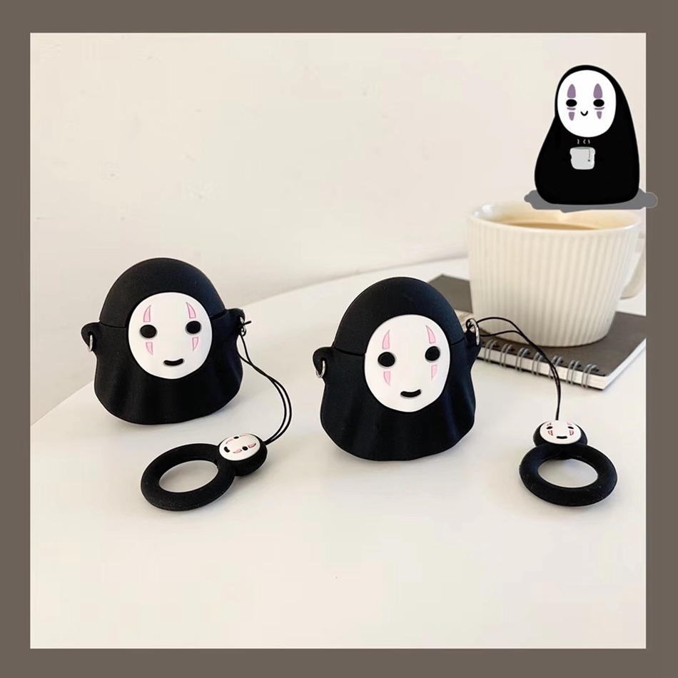 For AirPods Case Stereo Meng Q Version No Face Male Earphone Case For Apple Airpods 2 Funny Protect Cover With Finger Ring Strap