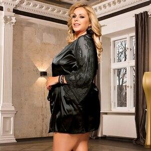 Image 5 - Comeonlover kadın elbiseler pijama dantel saten seksi Conjunto elbise Chemise bel kemeri artı boyutu 5XL gelin bornoz RE80556