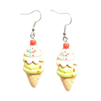 Childlike creative ice cream cartoon earrings Personalized cute unicorn ice cream earrings ear clip Metal Resin image