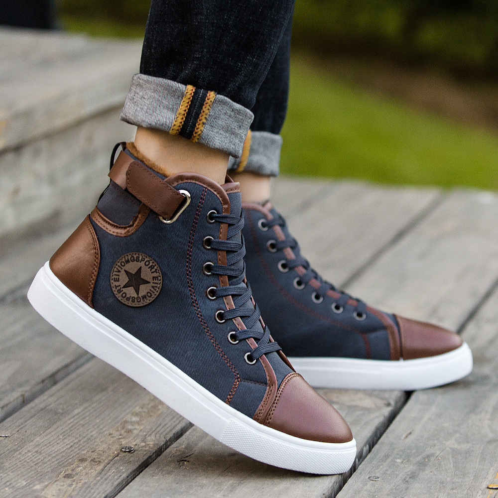 2018 New Style Thick Plus Velvet-Lace-up Plus-sized Hight-top Men Shoes Warm Shoes Casual Shoes